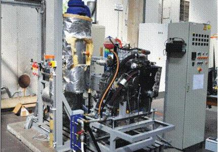 Engine running on gas generated from biomass (wood gas)